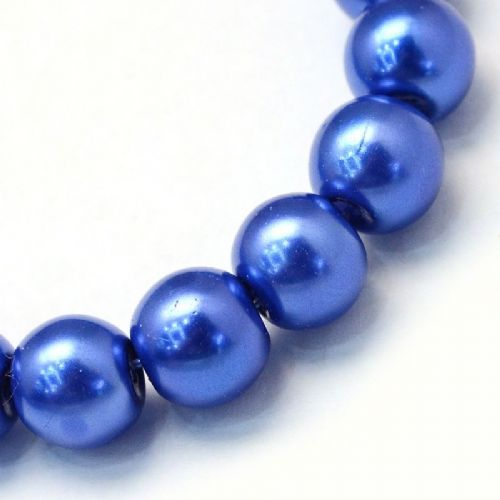 Glass Pearl Beads Royal Blue 8mm